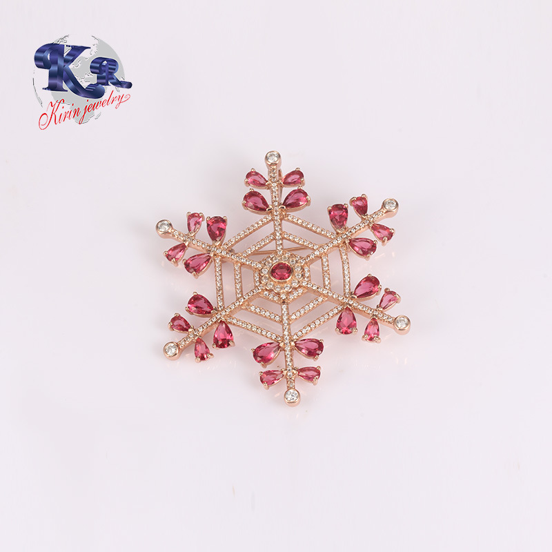 Rose Gold Crystal Brooch 925 Sterling Silver For Coats