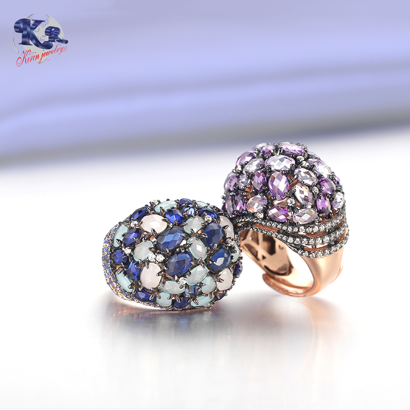 Mona Lisa Rose Gold Plated Amethyst Cubic Zirconia Jewelry Sets Ideal Gift for Women Kirin Jewelry 19608