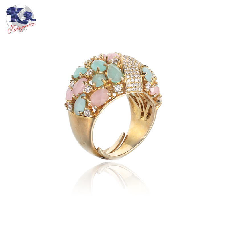 Multicolor zircon 925 sterling silver ring gold color for women Kirin Jewelry 18834