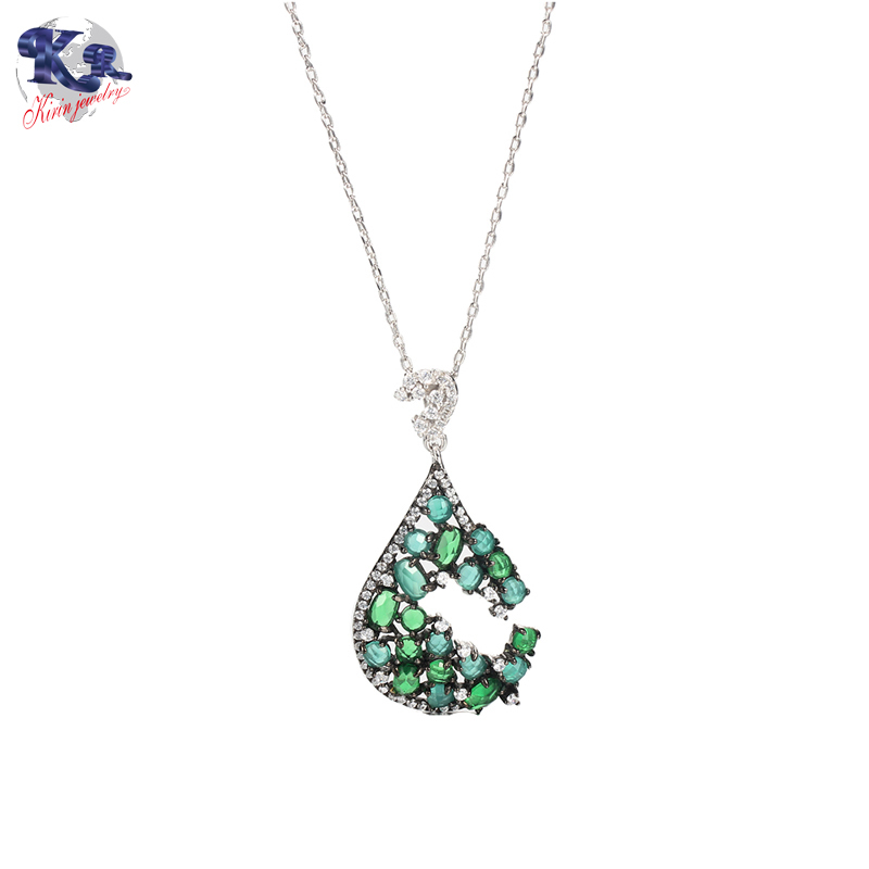 Kirin 925 sterling silver jewelry set Emerald color stone for women 81776