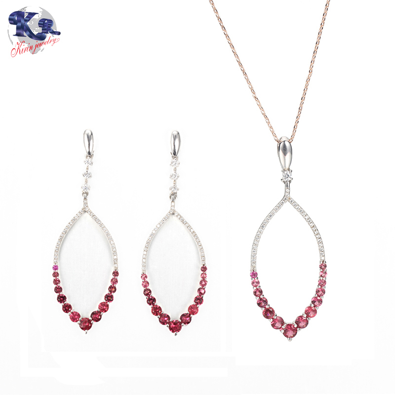 Kirin 925 sterling silver jewelry set Ruby color stone for women 82021