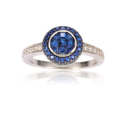 Silver Sapphire Round Cut Ring Fashion Statement Jewelry for Women Girls Kirin Jewelry 104618