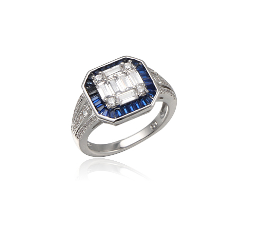 Platinum Plated Sterling Silver Cubic Zirconia Emerald Cut & Baguette Ring Kirin Jewelry 104682