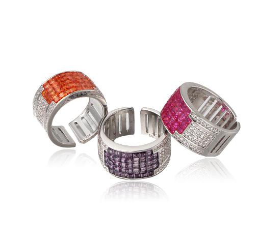 Women Cubic Zirconia Round & Square Eternity Ring Kirin Jewelry 104756