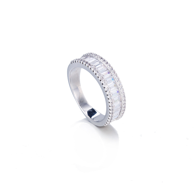 Sterling Silver 925 Baguette CZ Channel Band Ring Size 7-12 Kirin Jewelry 104918