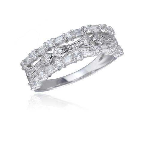 Sterling Silver Rhodium Cubic Zirconia 3 Row Baguette Cut Eternity Band Fashion Ring Kirin Jewelry 104241