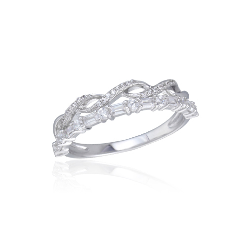 Round & Baguette Cubic Zirconia Band .925 Sterling Silver Ring Sizes 4-11 Kirin Jewelry 104269