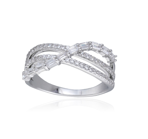 Rhodium Plated Baguette Cubic Zirconia Wide Band Cocktail Ring Kirin Jewelry 104311