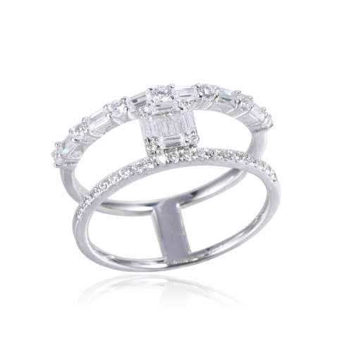 925 Sterling Silver Stackable Ring White Baguette-Cut Cubic Zirconia Kirin Jewelry 104248