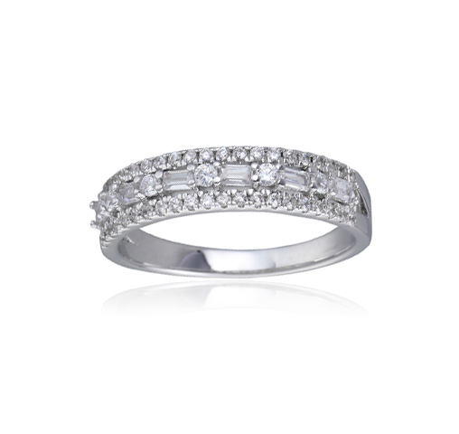 925 Sterling Silver Baguette Round Cubic Zirconia CZ Eternity Band Ring Fine Jewelry For Women Gift Set Kirin Jewelry 104332