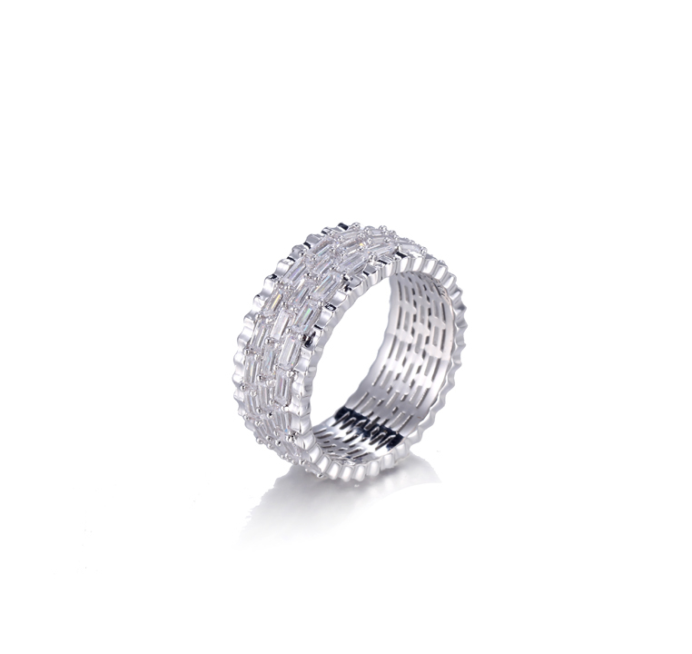Women Cubic Zirconia Round & Baguette Eternity Ring Kirin Jewelry 105142