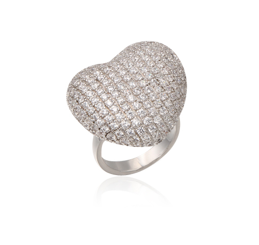 Fashion 925 Sterling Silver Heart  Ring wedding rings for womenKirin Jewelry 13539