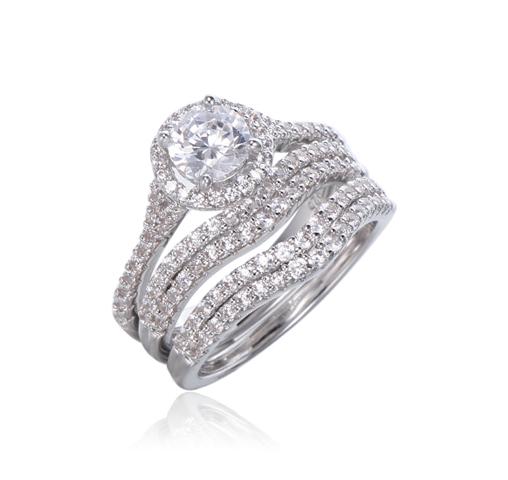 3pcs Silver Rings Set Engagement Ring For Women Kirin Jewelry 104440