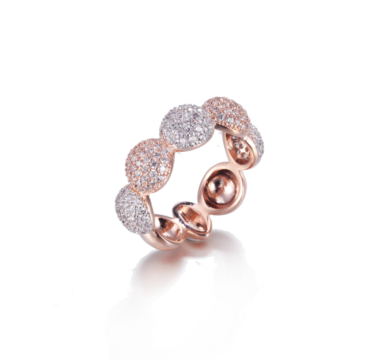 Sterling Silver Ring Two Tone Rhodium and Rose Gold Plated Kirin Jewelry 104985