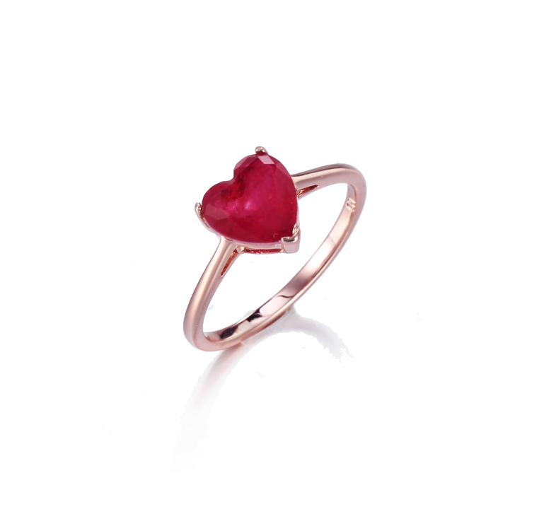 Romantic 925 sterling silver  Ruby color fashion jewelry heart ring for women Kirin Jewelry 104720