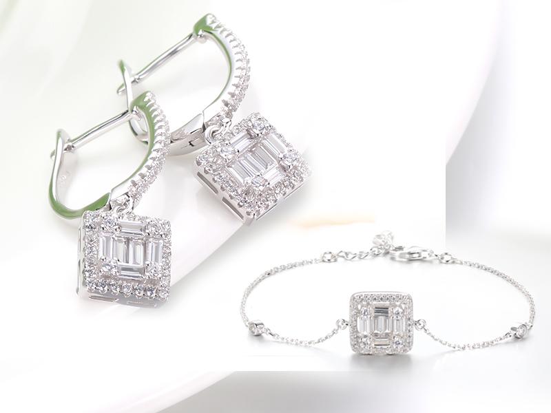 925 sterling silver earring baguette stone
