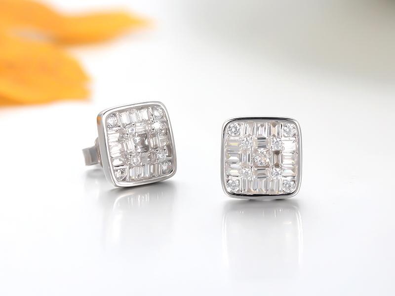925 sterling silver earrings baguette stone