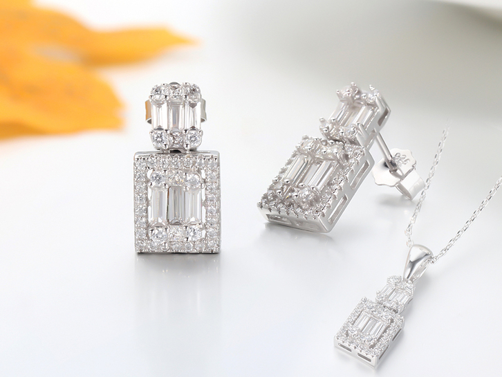925 sterling silver jewelry set baguette stone