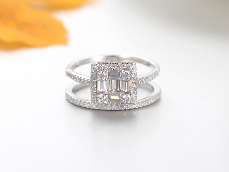 925 sterling silver ring baguette stone