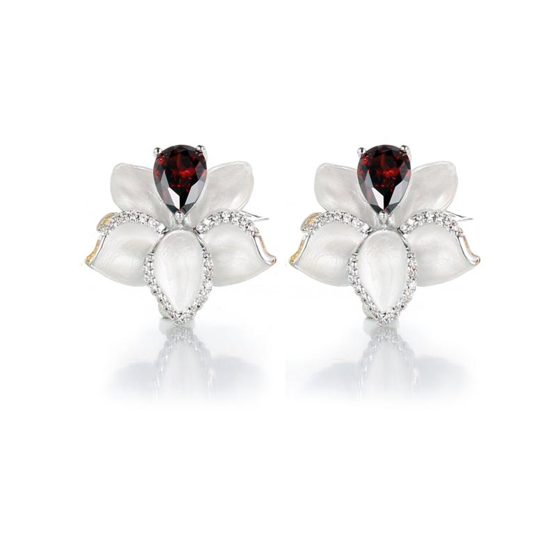 Authentic 925 Sterling Silver Sapphire Jewelry Earrings Kirin Jewelry 84485E