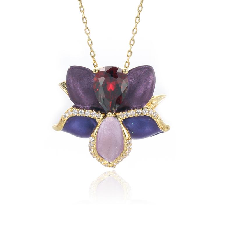 925 Sterling Silver pendant Poetic Blooms Mixed Enamels Kirin Jewelry 84485P