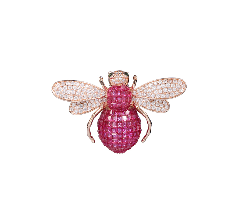 Classics Boxed Rose Gold Tone and Ruby Bee Brooch Pin 40340 Kirin Jewelry