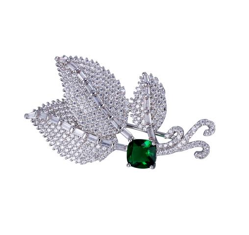Fine Leaf Cubic Zirconia Brooch  Emerald Pin Brooch for Women 40263 Kirin Jewelry