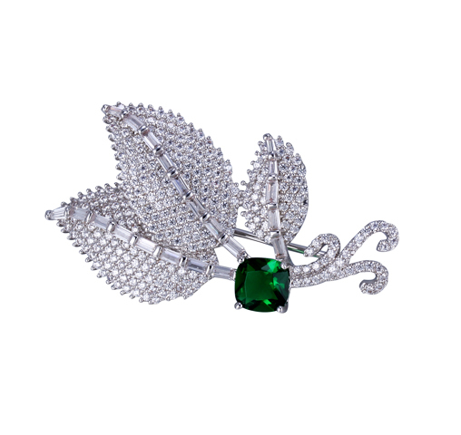 Fine Leaf Cubic Zirconia Brooch  Emerald Pin Brooch for Women 40263 Kirin Jewelry
