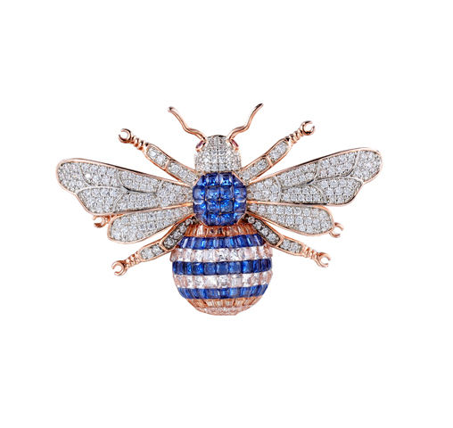 Rose Gold Tone Big Honeybee Pin Brooch Sapphire Cubic Zirconia 40257 Kirin Jewelry