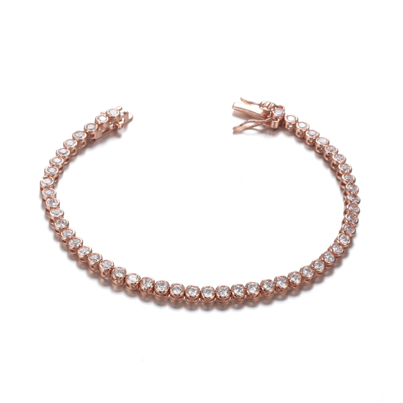 Ladies Cubic Zirconia Tennis Bracelets Clear White Gold Plated for Women Girls 61942 Kirin Jewelry