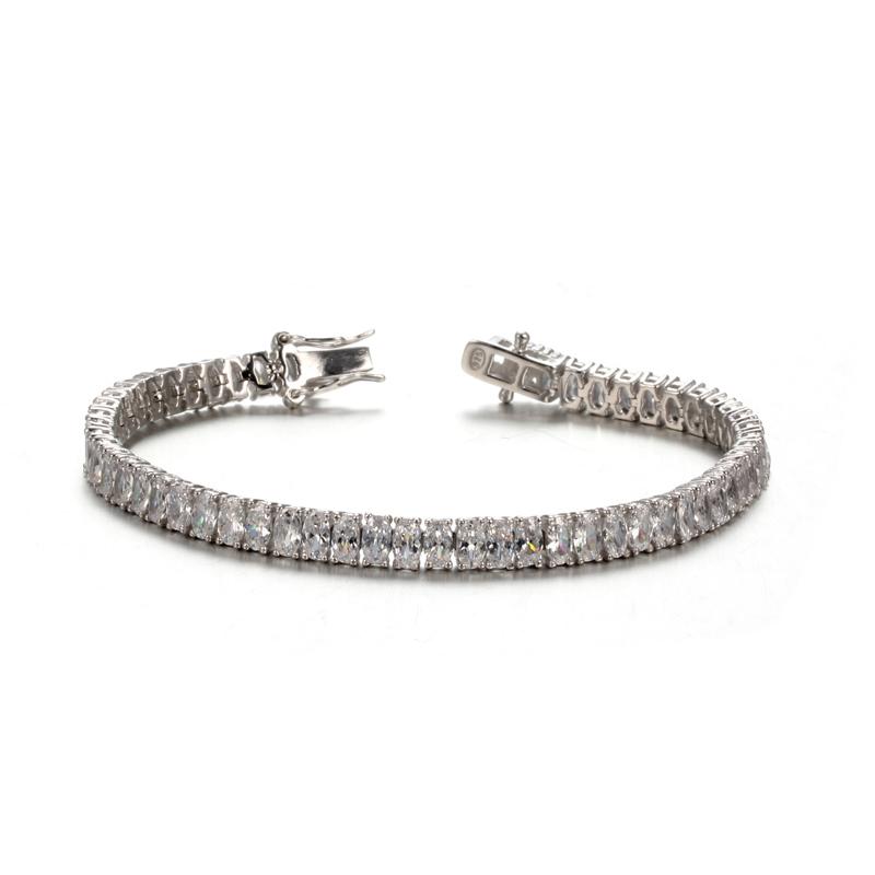 925 Sterling Silver Platinum Plated Oval Zircon Fashion Bracelet For Women 61935 Kirin Jewelry-1