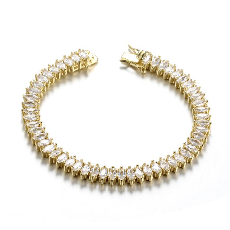 Wedding Bracelet with Marquis Cut CZ Platinum Plated 61934 Kirin Jewelry