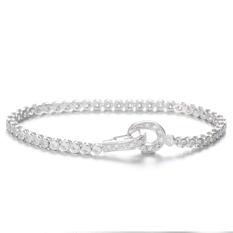 925 Sterling Silver Infinity OL Link Cubic Zirconia Bracelets for Women 61978 Kirin Jewelry