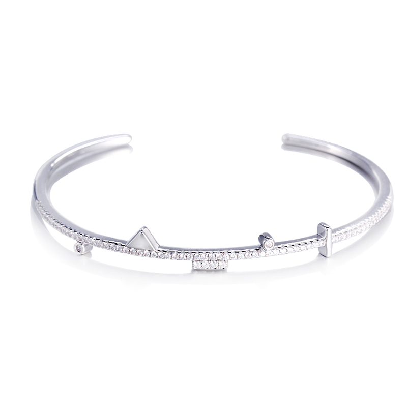 925 Sterling Silver Geometric Ornament Inspirational Bracelet Cuff Bangle 51240 Kirin Jewelry