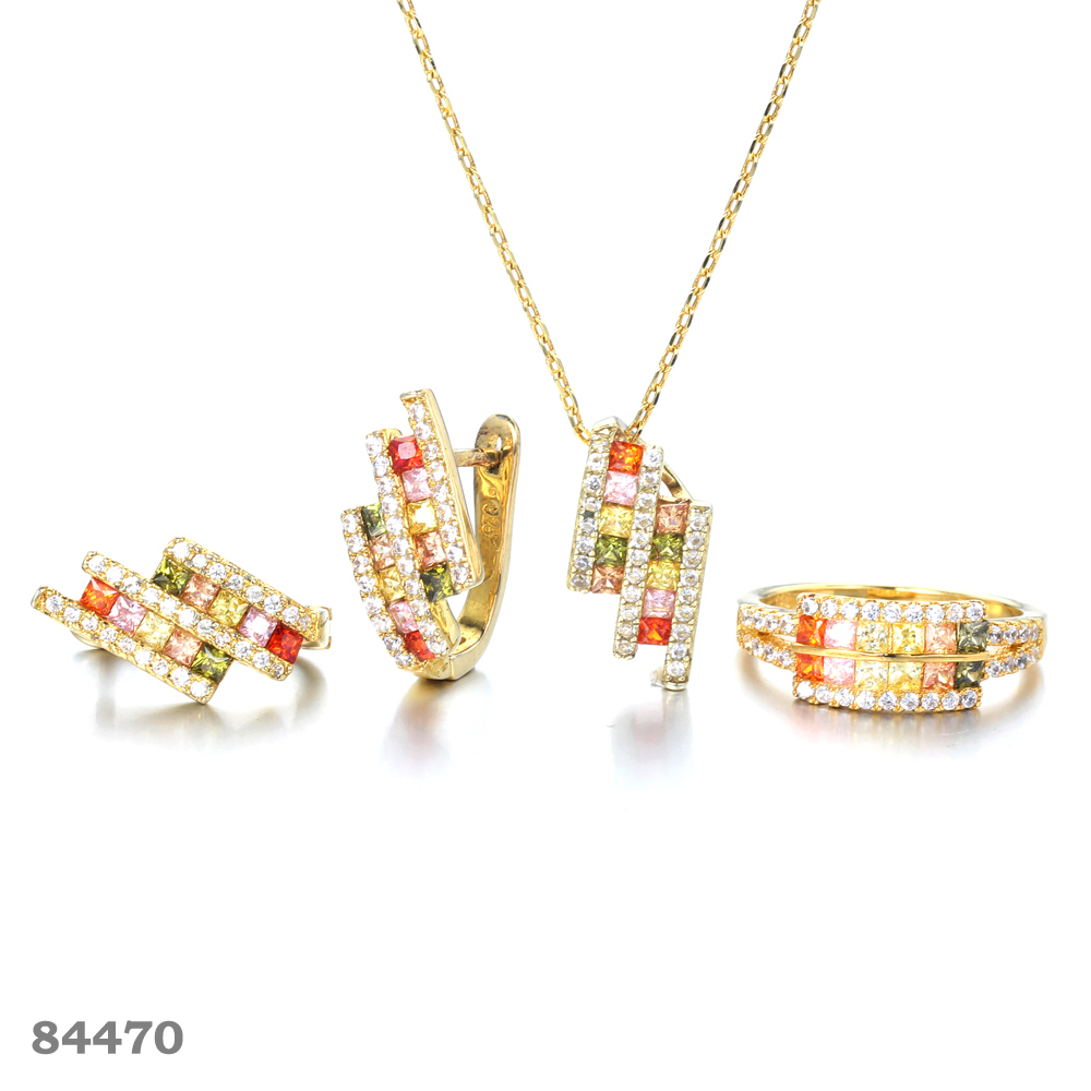 925 silver jewelry set with 14K-Gold plated Kirin Jewelry 84470