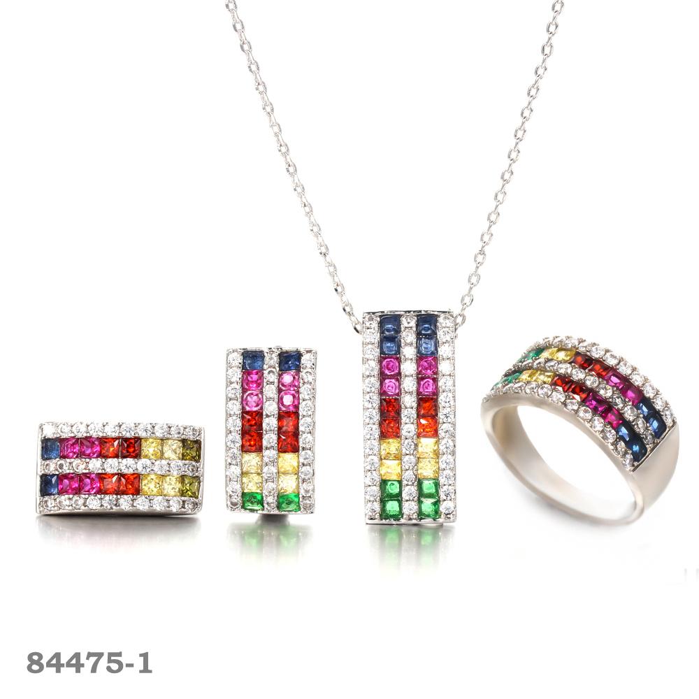 925 silver jewelry set Rhodium plated earrings, pendants, rings Kirin Jewelry 84475