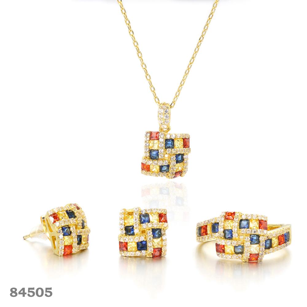 925 silver jewelry set gold plated Square jewelry  Kirin Jewelry 84505