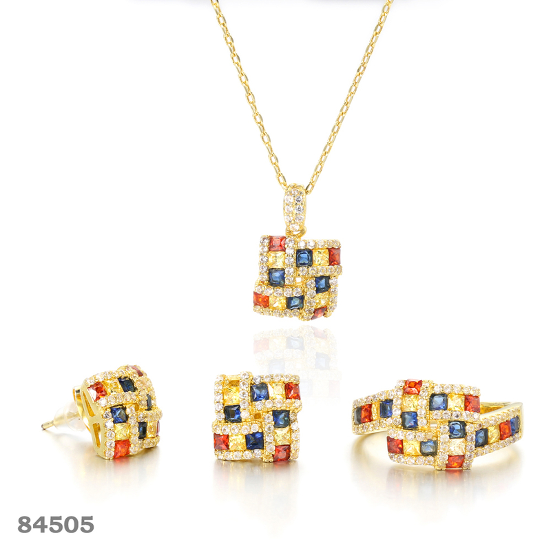 925 silver jewelry set gold plated Square jewelry  Kirin Jewelry 84505