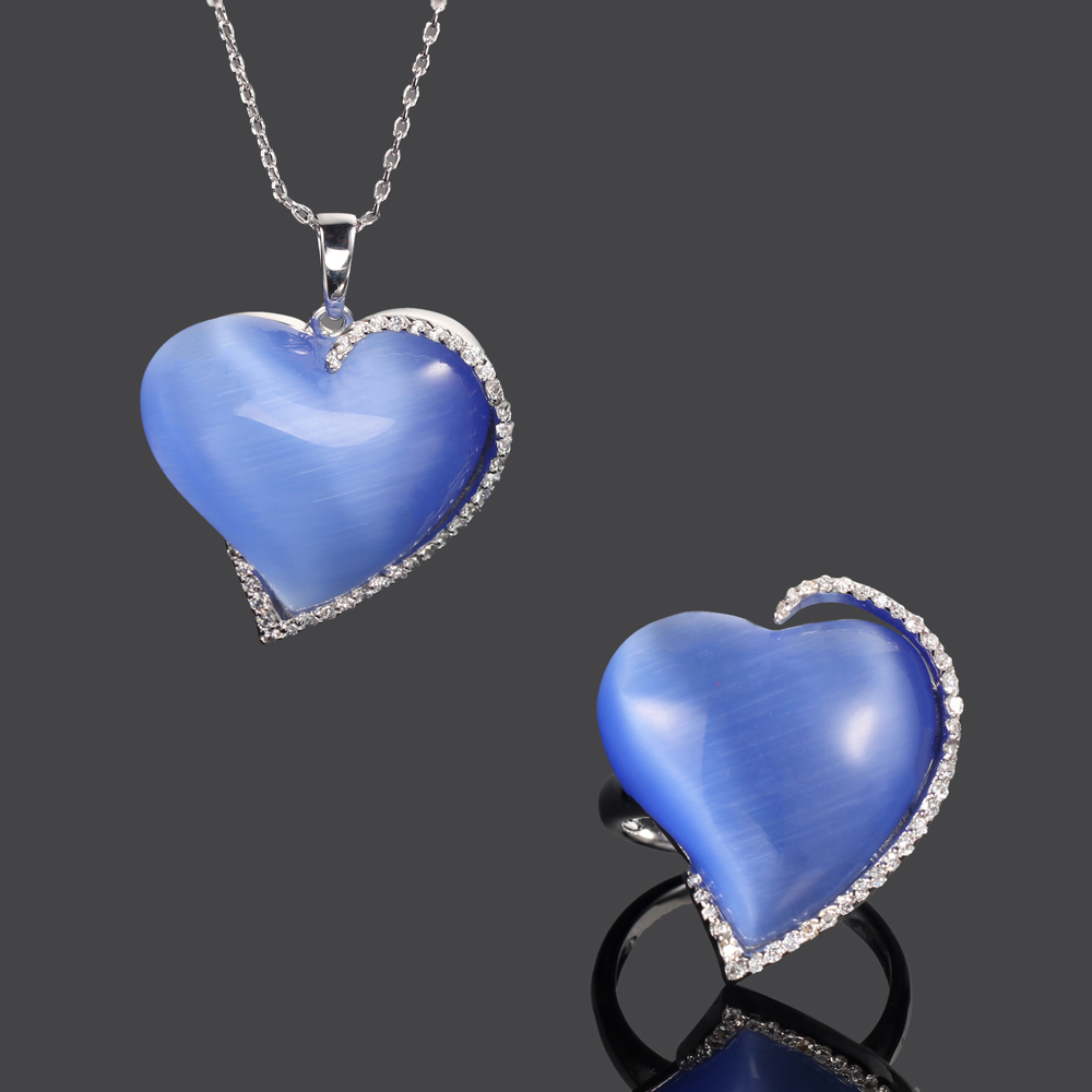 925 silver jewelry set blue cat eye heart shape jewelry for women Kirin Jewelry 22619