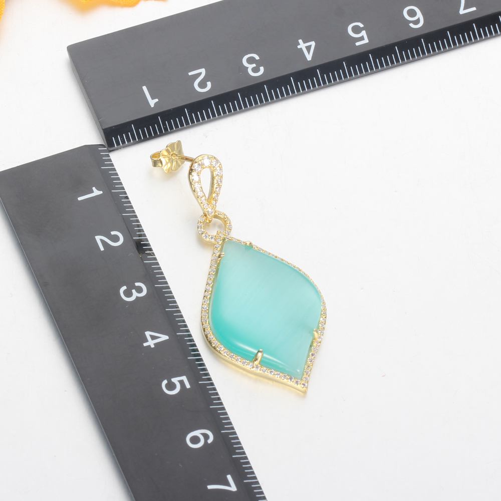 925 silver jewelry set gold plated earrings pendants light cat eye big stone Kirin Jewelry 81343