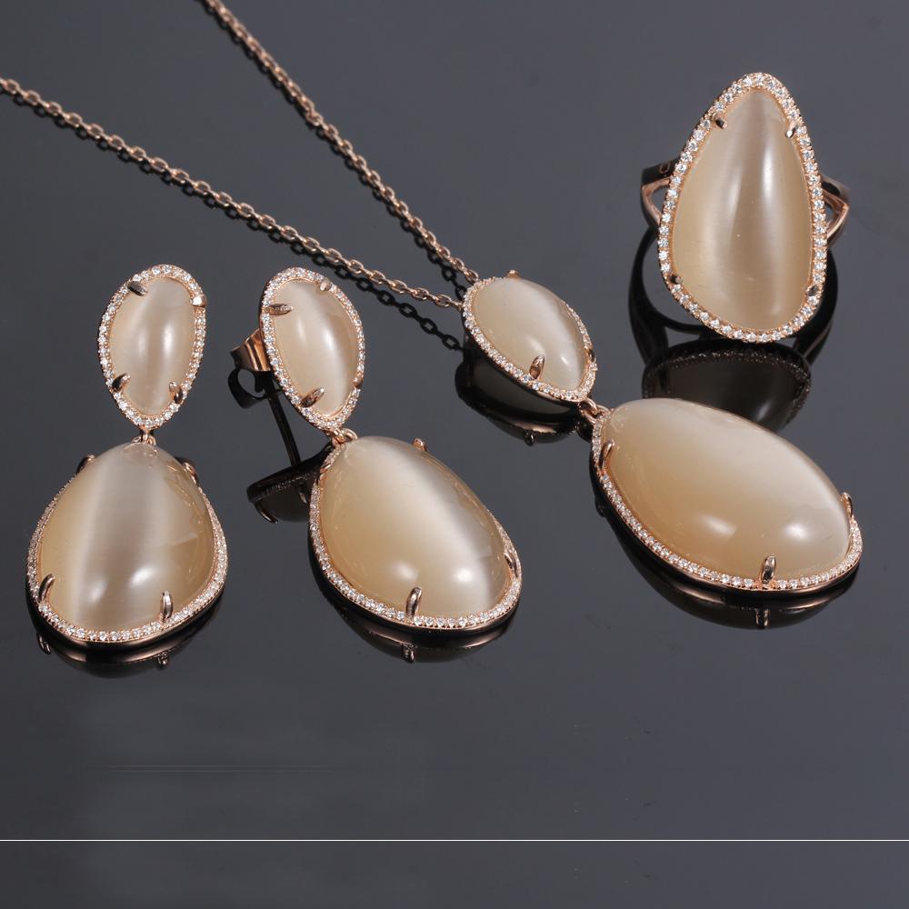 925 silver jewelry set earrings pendants rings cat eye jewelry kirin jewelry 82440-1