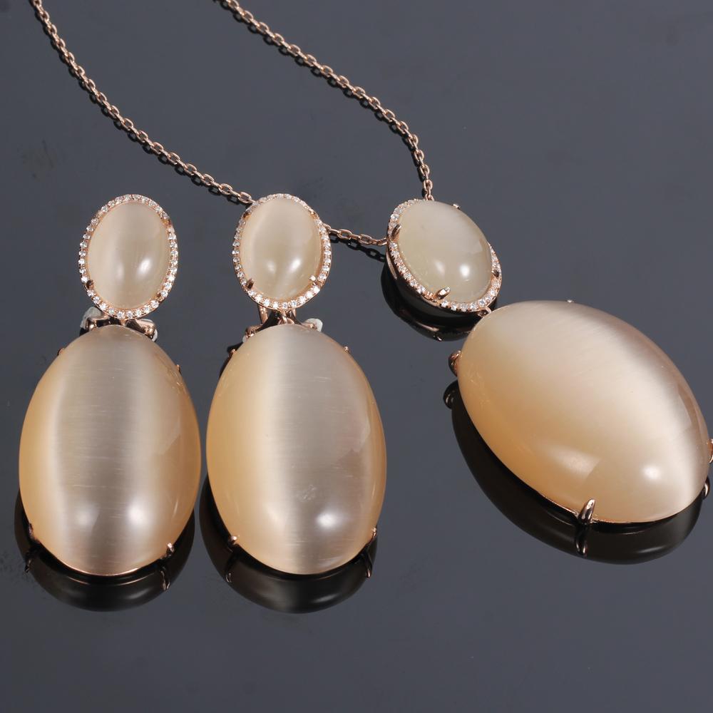 925 silver jewelry set cat eye jewelry set pendant with chain drop earrings kirin jewelry 82565