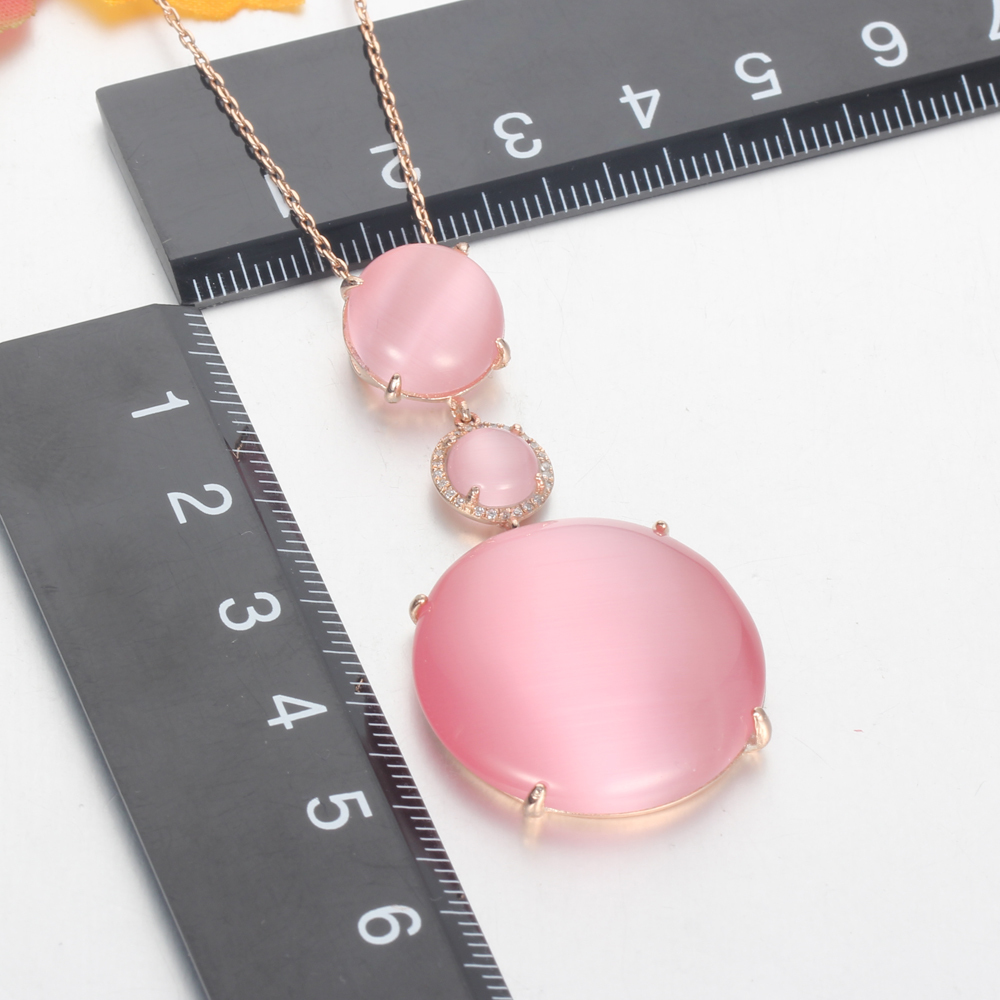 925 silver jewelry cat eye jewelry set drop earrings rose gold plated pendant kirin jewelry 82566