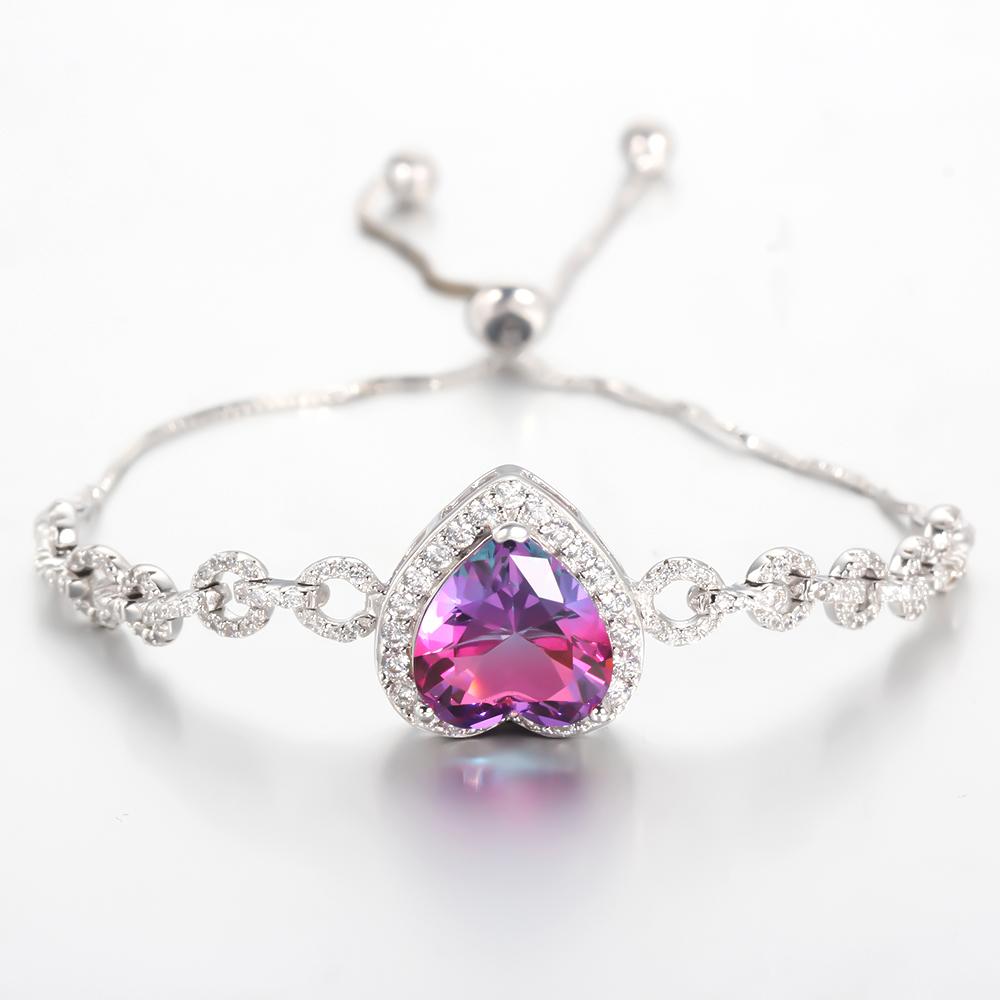 Elegant Women Heart Cubic Zirconia Hand Chain Bracelets & Bangles Fashion Jewelry 62317