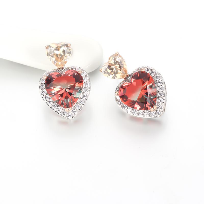 Wholesale Heart Cut 925 Sterling Silver Stud CZ Earrings Wedding Jewelry Gift 85245