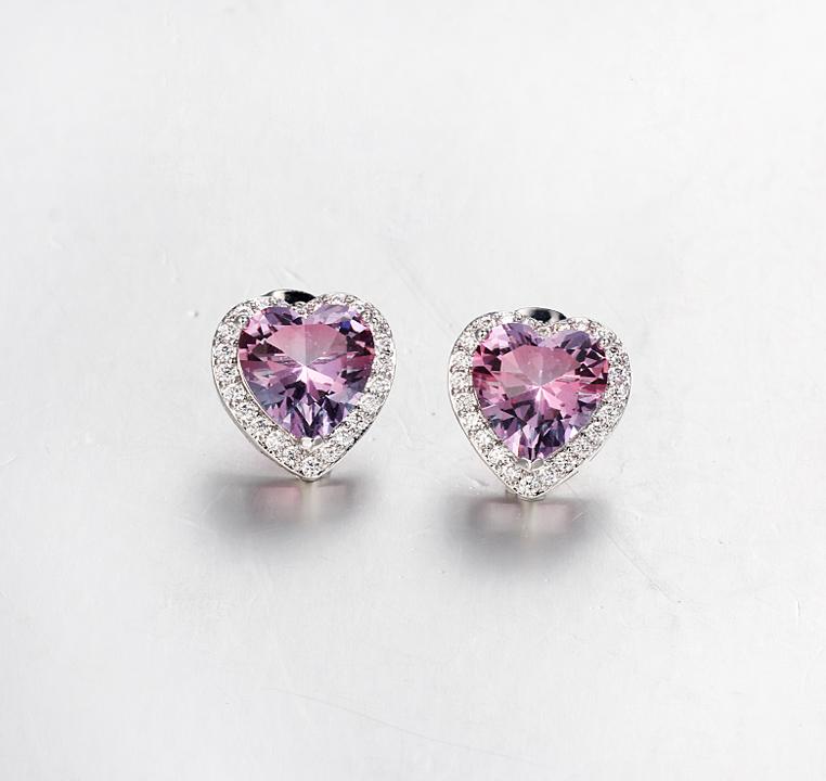 Kirin Jewelry -Sterling Siver Jewelry | 925 Sterling Silver Heart Cut Stud Earring Womens-1