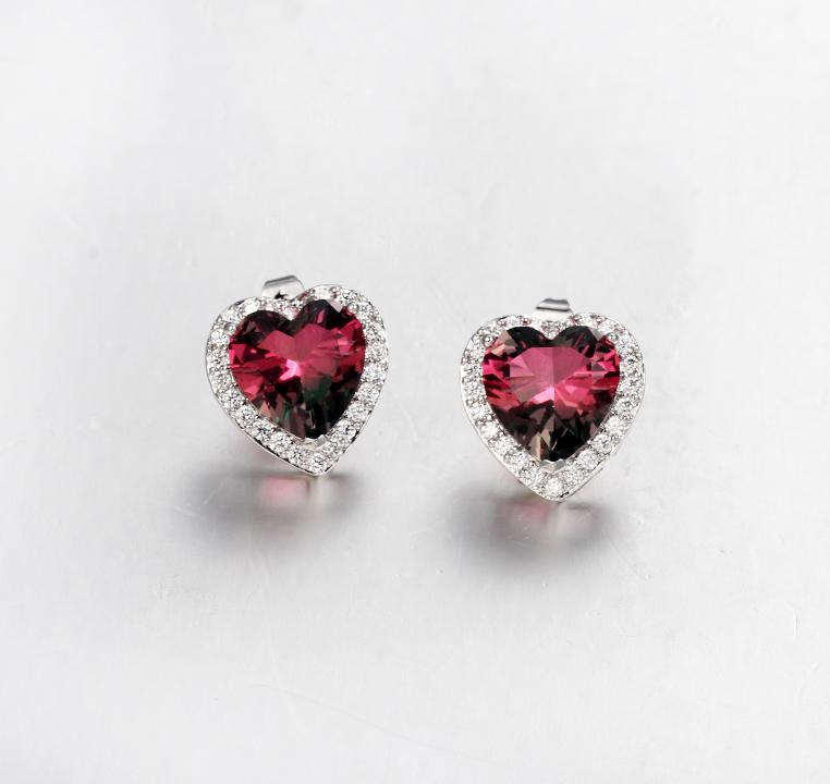 Kirin Jewelry -Sterling Siver Jewelry | 925 Sterling Silver Heart Cut Stud Earring Womens