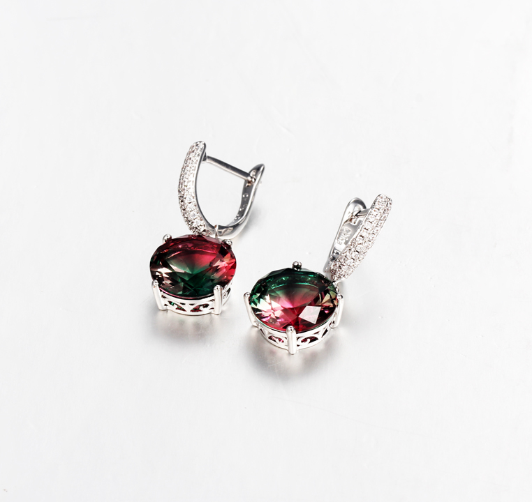Exquisite Womens 925 Sterling Silver Prong setting  Cubic Zircon Earrings Jewelry Gifts 39045