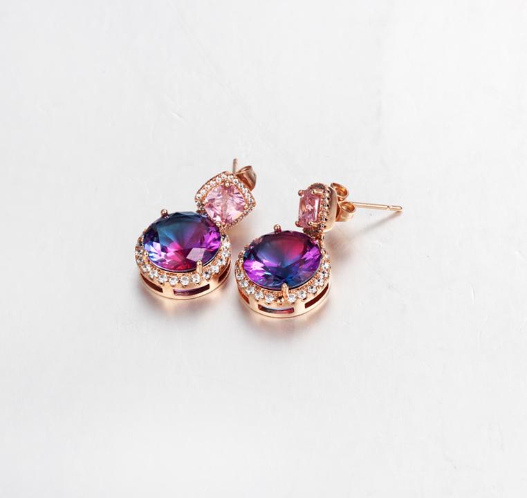 Classic 925 Sterling Silver Cushion Cut Cubic Zirconia Women Earrings Jewelry 39047