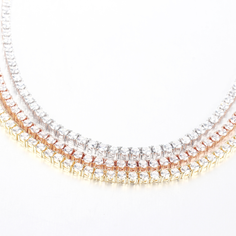 925 Sterling Silver CZ Cubic Zirconia Choker Necklace Tennis Chain Jewellery 70138